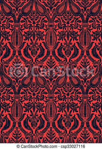 Vector seamless damask pattern - csp33027116