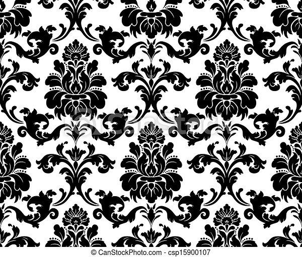 Vector Seamless Damask Pattern Fabric Swatch Black And White Amazing Damask Pattern