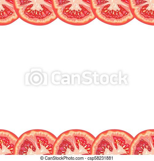 Vector seamless decorative border of juicy tomato slice on white background - csp58231881