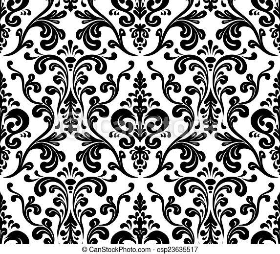 Seamless Elegant Damask Pattern Black And White