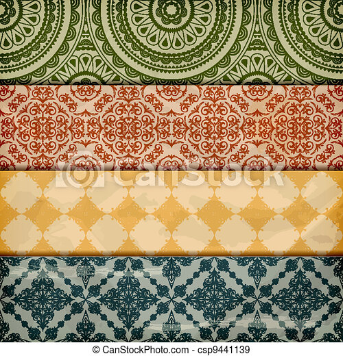 vector seamless floral borders on  crumpled   paper, grunge texture, eps 10, gradient mesh - csp9441139