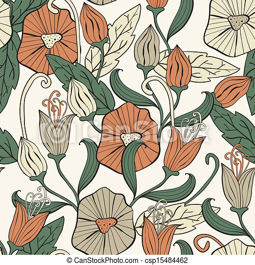 Vector Seamless Floral Funky Pattern - csp15484462