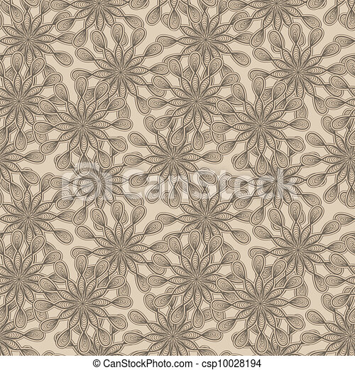 vector seamless floral  monochrome pattern with bizarre flowers - csp10028194