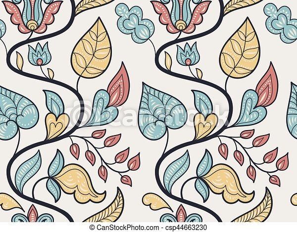 Vector Seamless Floral Pattern - csp44663230