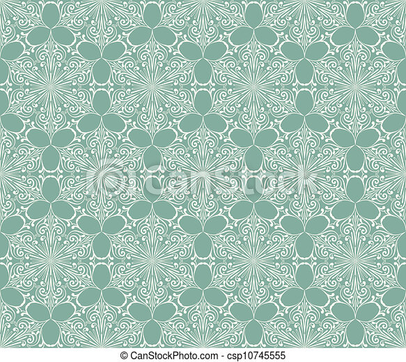 Vector Seamless Lacy Winter Pattern with Snowflakes - csp10745555