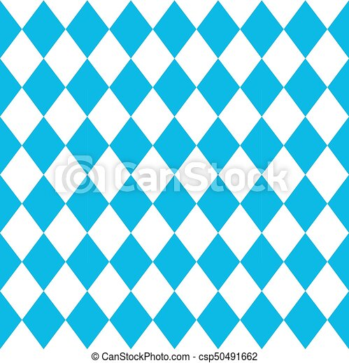 Vector seamless oktoberfest pattern with white and blue rhombus - csp50491662