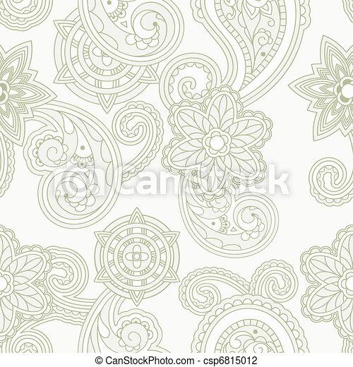 vector seamless paisley background - csp6815012