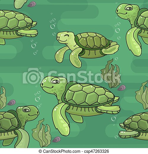 Vector Seamless Pattern Cute Cartoon Green Sea Turtle Vector