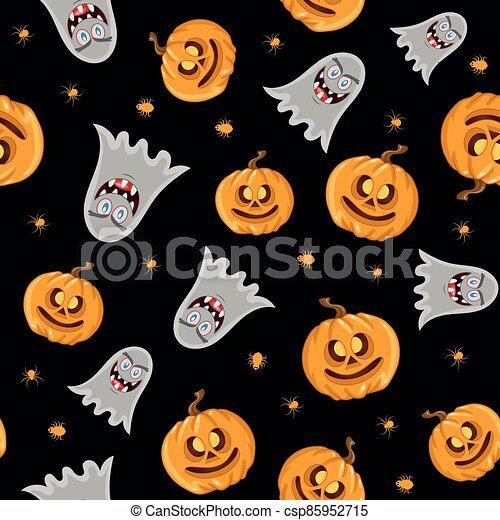 Vector seamless pattern for Halloween. Pumpkin, ghost and spider on the Halloween theme. Bright cartoon pattern for Halloween. - csp85952715
