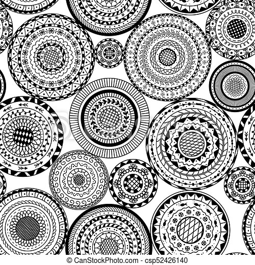 Vector Seamless Pattern From Black And White Round Mandalas Decorative Background Of Circle Mandala Coloring Page Book Anti Stress For Adult