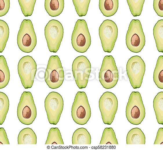 Vector seamless pattern of avocado slice on white background. Avocado cut texture - csp58231880
