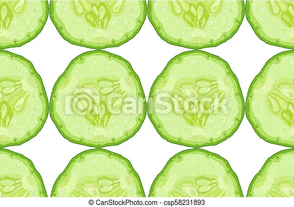 Vector seamless pattern of cucumber slice on white background - csp58231893