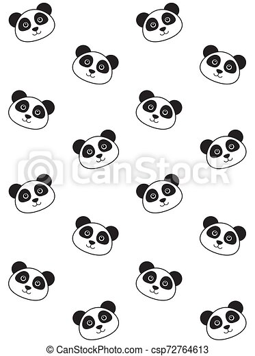 Vector Seamless Pattern Of Flat Kawaii Panda Face