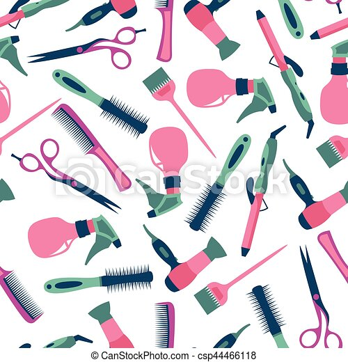 Vector seamless pattern of hairdresser and equipment - csp44466118