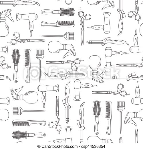 Vector seamless pattern of hairdressing line equipment - csp44536354