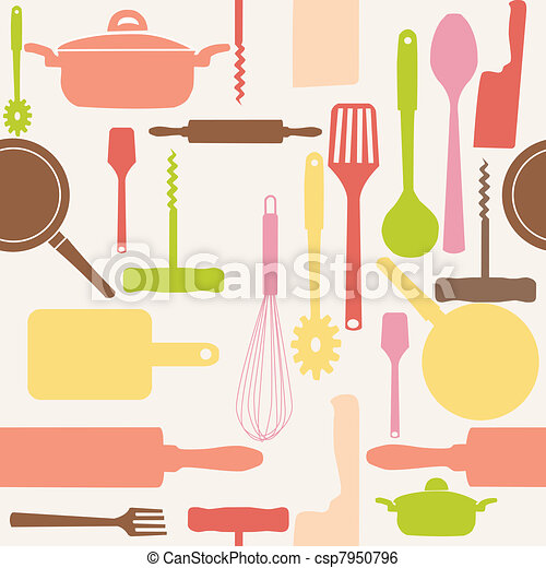 Vector seamless pattern of kitchen tools. - csp7950796