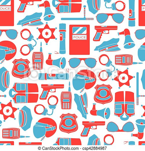 Vector seamless pattern of police equipment vector illustration - csp42884987