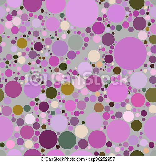 Vector seamless pattern of purple circles on a gray background. - csp36252957