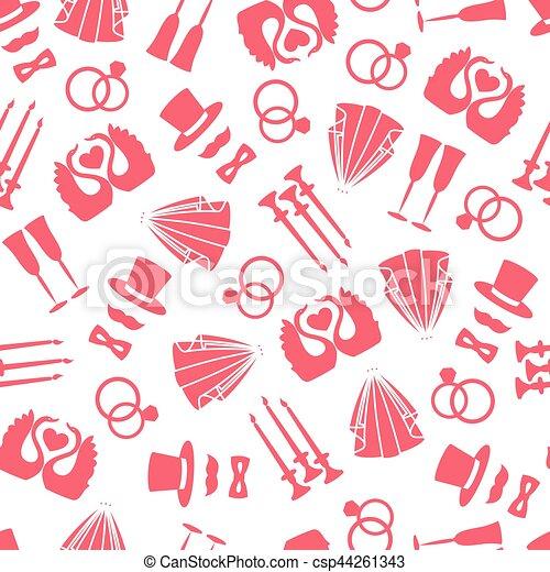 Vector seamless pattern of wedding symbols - csp44261343