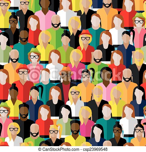 vector seamless pattern with a large group of men and women. fla - csp23969548
