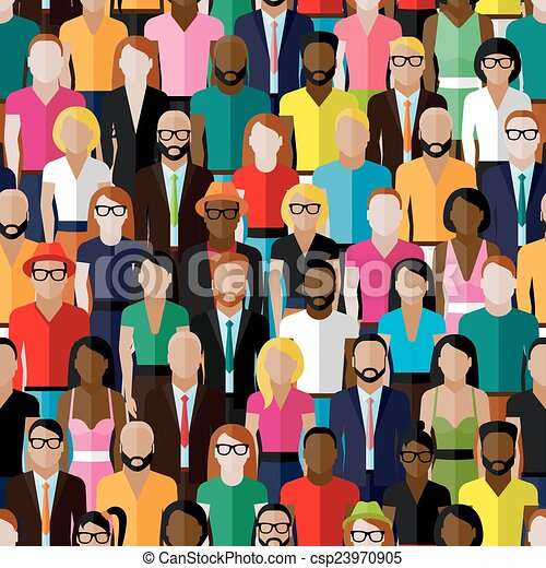 vector seamless pattern with a large group of men and women. fla - csp23970905