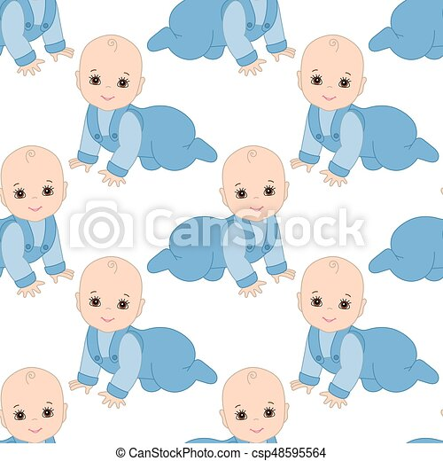 Vector Seamless Pattern With Baby Boy Seamless Pattern For Baby Boy Shower Vector Seamless Pattern With Cute Baby Boy On