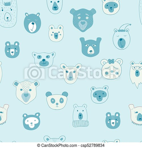 Vector Seamless Pattern with Bears - csp52789834