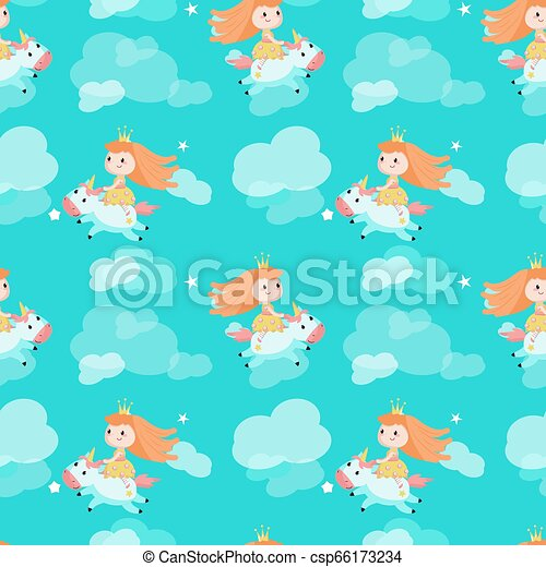 Vector seamless pattern with beautiful princess and unicorn - csp66173234