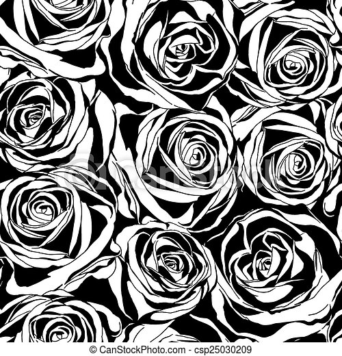 Vector Seamless Pattern With Black Roses Flowers Decorative Floral