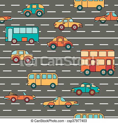Vector seamless pattern with cars and buses. - csp37977403