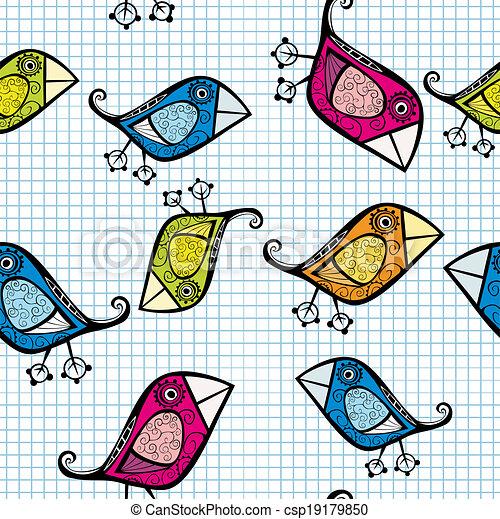 Vector seamless pattern with cartoon birds. - csp19179850