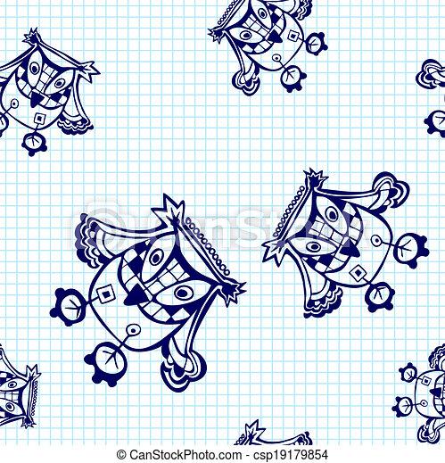 Vector seamless pattern with cartoon birds. - csp19179854