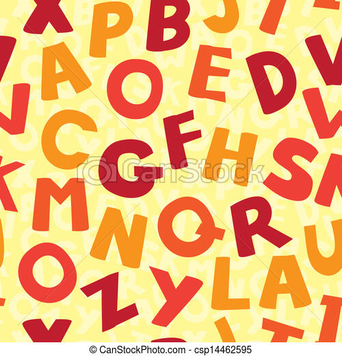 Vector seamless pattern with cartoon letters - csp14462595