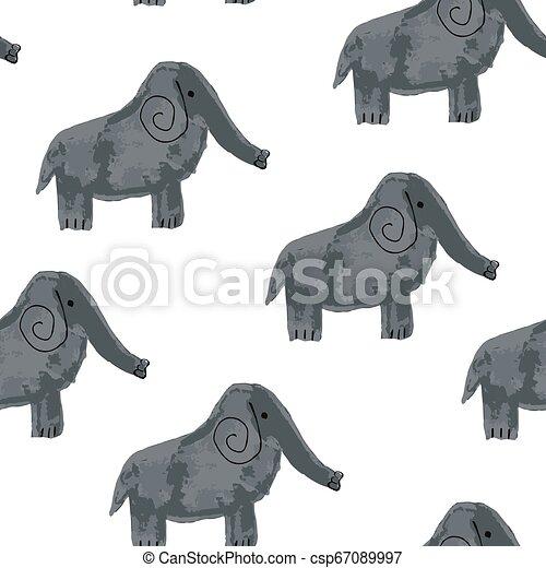 Vector Seamless Pattern with Cartoon Elephants - csp67089997