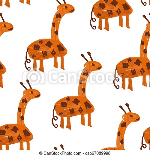 Vector Seamless Pattern with Cartoon Giraffes. - csp67089998