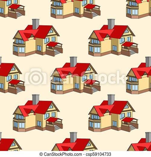 Vector seamless pattern with cartoon houses - csp59104733