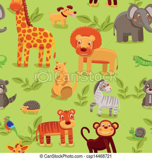 vector seamless pattern with cartoon animals - csp14468721