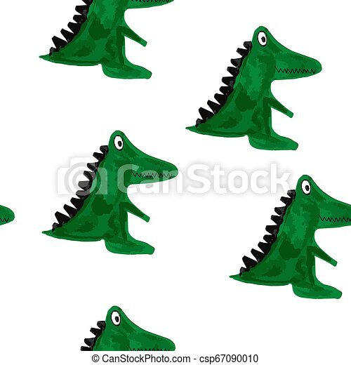 Vector Seamless Pattern with Cartoon Crocodiles. - csp67090010