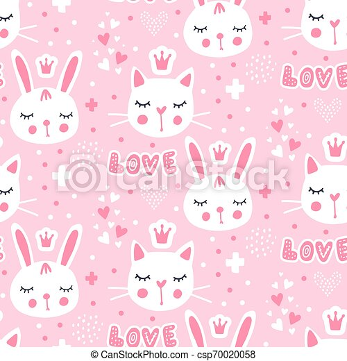 Vector Seamless Pattern With Cute Princess Bunny Pink Background