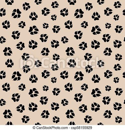Vector seamless pattern with dirty dog or wolf paw footprints - csp58155929