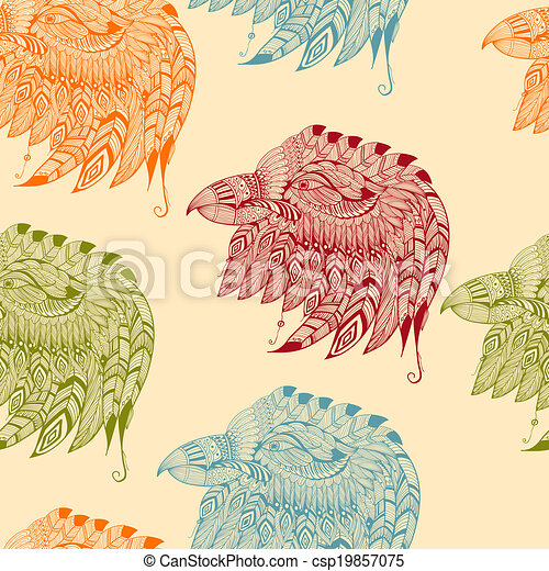 Vector Seamless Pattern with Eagles - csp19857075