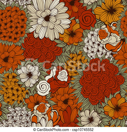 Vector Seamless Pattern with Funky Flowers - csp10745552