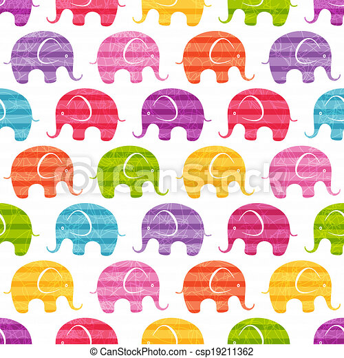 Vector seamless pattern with funny elephants - csp19211362