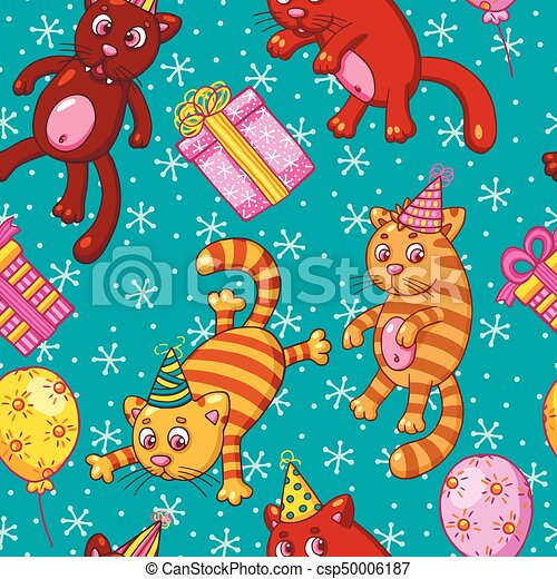 Vector seamless pattern with funny cartoon cats. - csp50006187