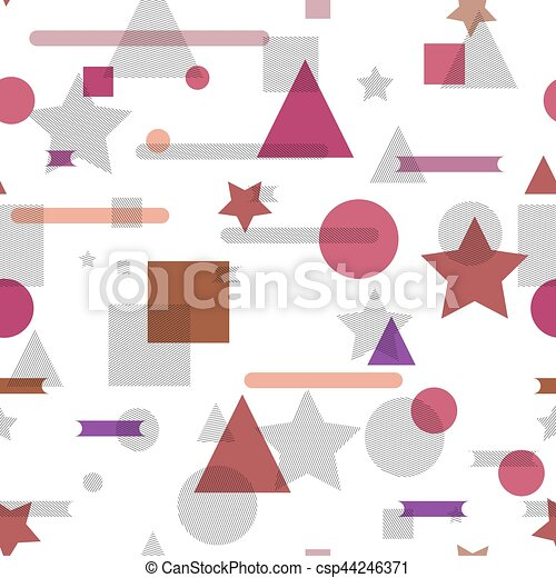 Vector seamless pattern with geometric shapes. - csp44246371