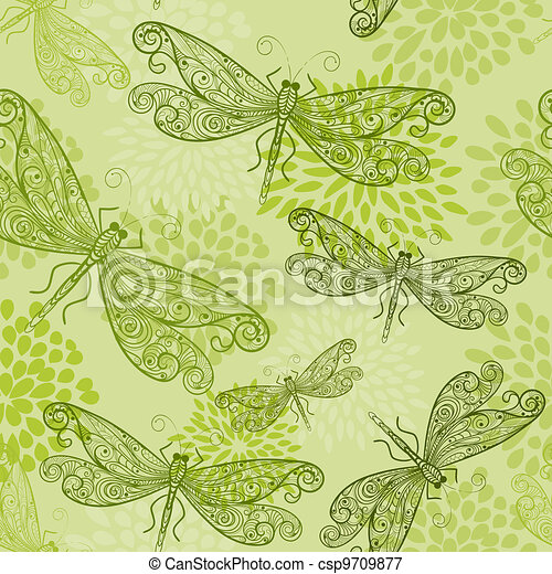 vector seamless pattern with green dragonflies and flowers - csp9709877
