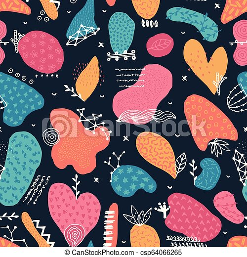 Vector seamless pattern with hand drawn abstract shapes. Spotted and textured figures. Unique design - csp64066265