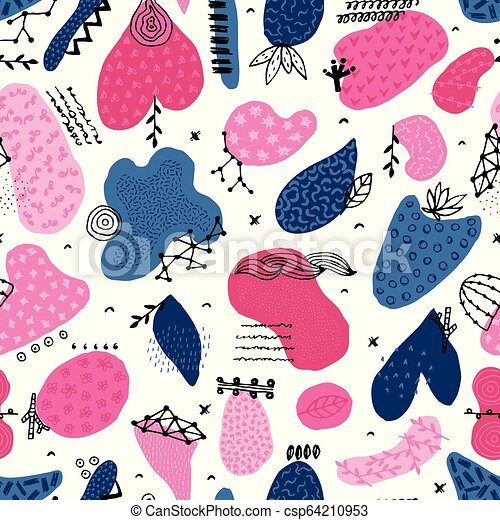 Vector seamless pattern with hand drawn abstract shapes. Spotted and textured figures. Unique design - csp64210953