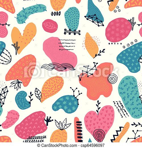 Vector seamless pattern with hand drawn abstract shapes. Spotted and textured figures. Unique design - csp64596097