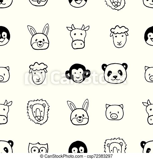 Vector seamless pattern with hand drawn cartoon animals head. - csp72383297